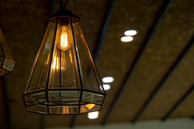 Warm light bulbs in coffee shops close up