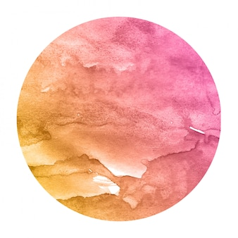Warm orange hand drawn watercolor circular frame background texture with stains