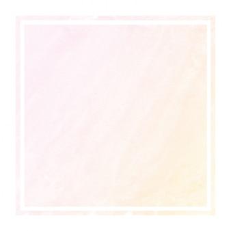 暖かいオレンジの手描き水彩の長方形フレーム