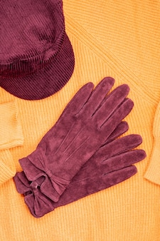 Warm outfit in trendy colors for cold weather