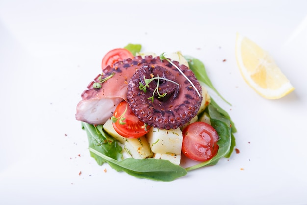 흰 접시에 문어, 감자, 체리 토마토, 아루굴라, 마이크로그린, 레몬을 넣은 따뜻한 샐러드. 전통적인 요리입니다. 근접, 흰색 배경입니다.