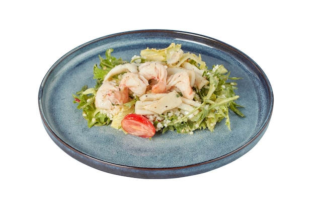 Теплый салат с креветками и кальмарами, ресторанное блюдо, изображение изолят