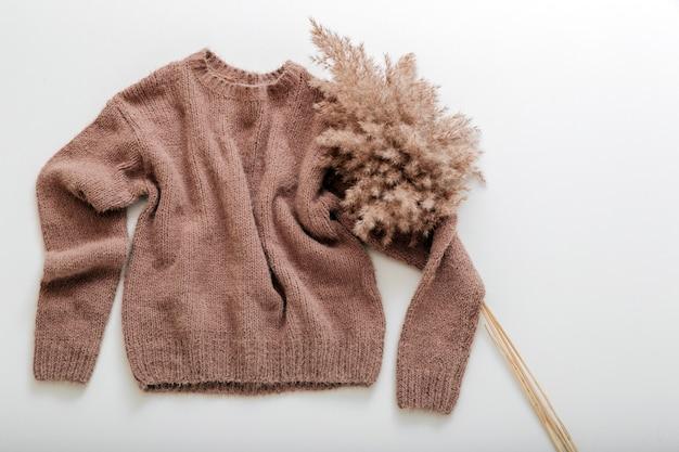 따뜻한 세련된 홈웨어 겨울 봄 복장 cortaderia 분기 꽃 팜파스 잔디와 갈색 따뜻한 니트 스웨터. 캐시미어 스웨터는 흰색으로 날아갑니다. 갈대 가지가 달린 부드러운 베이지색 니트 스웨터.
