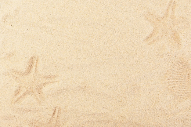 Warm summer backdrop with painted sand pictures.
