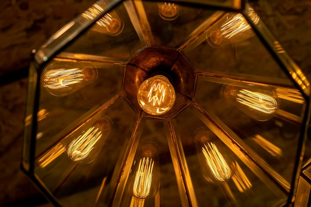 Warm and vintage interior lights bottom view close up