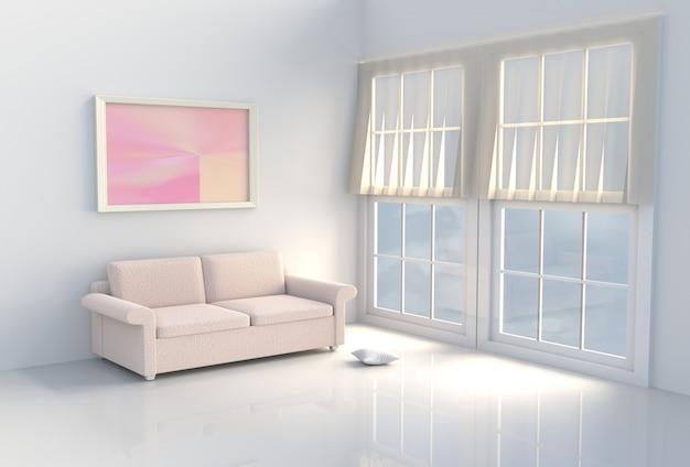 따뜻한 흰색 거실. 태양은 창문을 통해 그림자로 빛납니다. 3d 렌더링.