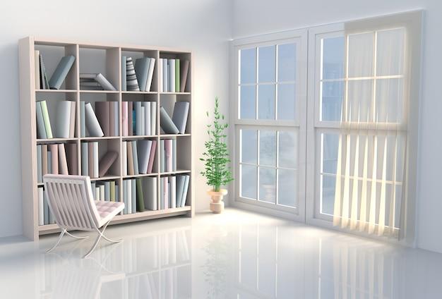 Теплый белый читальный зал с книжными шкафами, стул. на всемирный день книги. 3d визуализация.