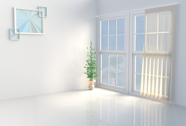 Warm white room decor. the sun shines through the window into the shadows. 3d render.
