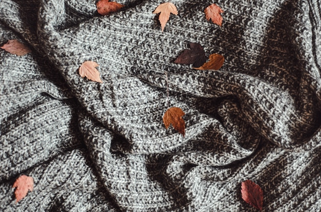 Warm woolen cozy homemade gray knitted blanket with dry autumn leaves.
