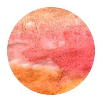 Warm yellow hand drawn watercolor circular frame background texture with stains