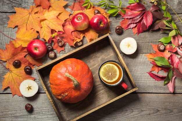 Warming cup of tea with a decor of pumpkins and autumn leaves on a wooden vintage board.