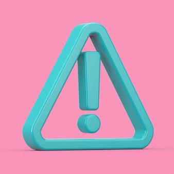 Warning, dangerous or hazard icon. blue exclamation mark with triangle in duotone style on a pink background. 3d rendering