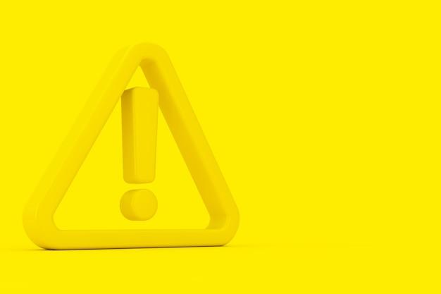 Значок предупреждения, опасности или опасности. желтый восклицательный знак с треугольником в двухцветном стиле на желтом фоне. 3d рендеринг