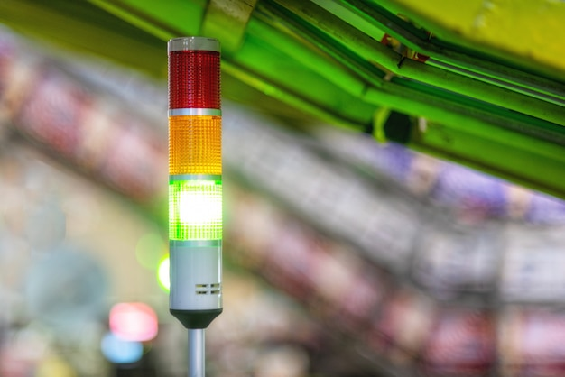 Warning lights alarm at automated machinery production in factory