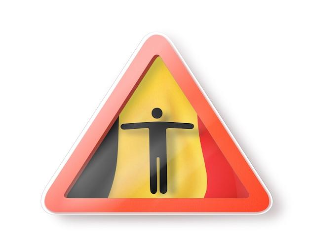 Предупреждающий знак с фигурой черного человека на бельгийском флаге на белом, копией пространства. ограничение въезда в бельгию. концепция карантина. 3d иллюстрации