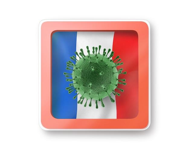 Предупреждающий знак с моделью молекулы коронавируса на флаге франции на белом, копией пространства. быстрое распространение коронавируса covid 19 в мире. 3d иллюстрации