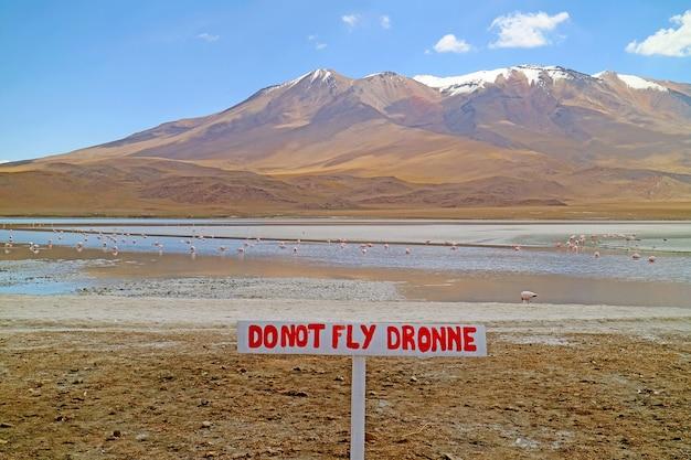 Warning signpost at lake hedionda in bolivian altiplano with a flamboyance of pink flamingos grazing, potosi department of bolivia