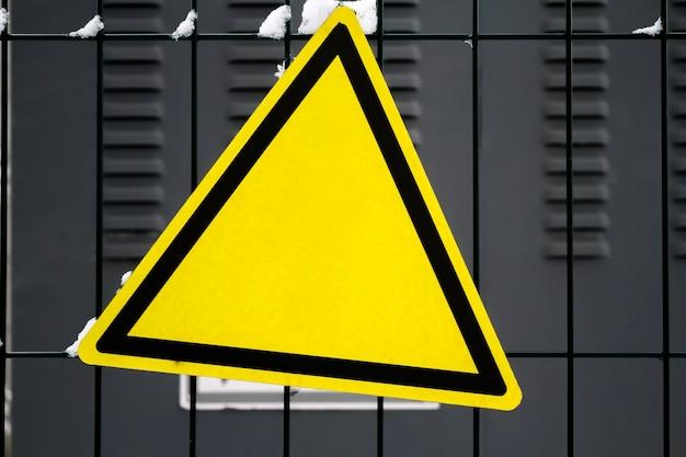 Warning yellow sign, triangular sign