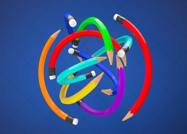 青の背景にボールとしてマルチカラー鉛筆をワープ