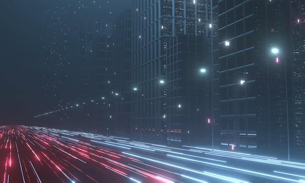 メガシティの建物のライトでワープスピードハイパーループ