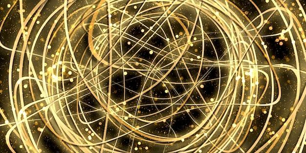 뒤틀린된 곡선 배경 추상 황금 빛 bokeh 스파클 3d 그림