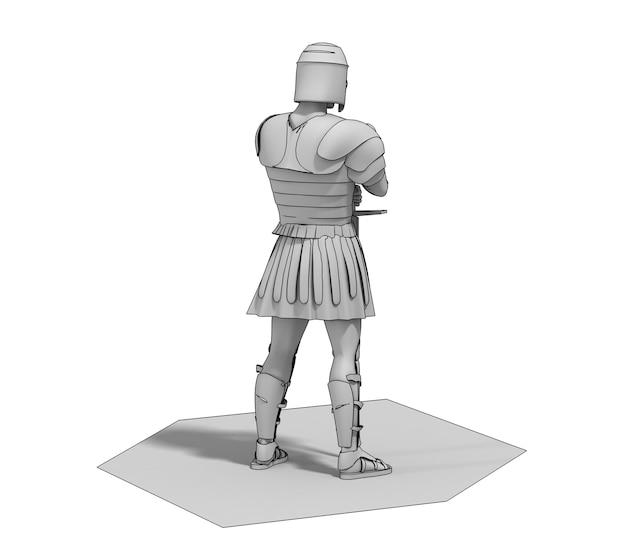 Воин персонаж 3d рендеринга 3d иллюстрация