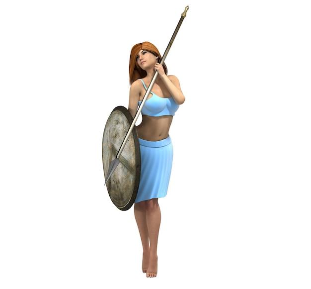 戦士の女性キャラクター、3dイラスト、スケッチ