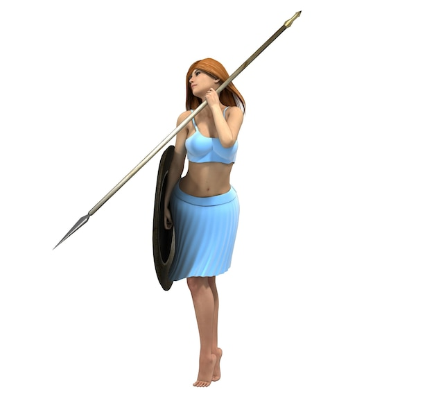 Warrior woman character, 3d illustration, sketch