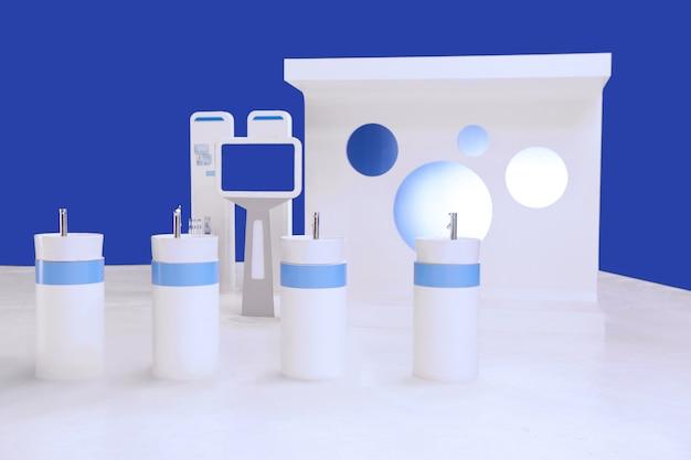 Wash bowl,  monitor and backdrop