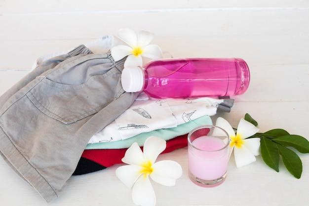 薬液洗浄で衣類溶液を洗う