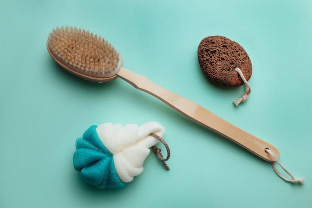 Washcloth, bathing brush and heel foam