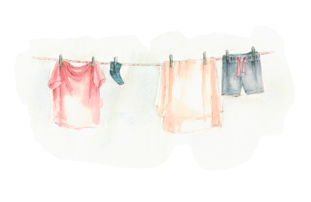 Washed laundry dries hanging