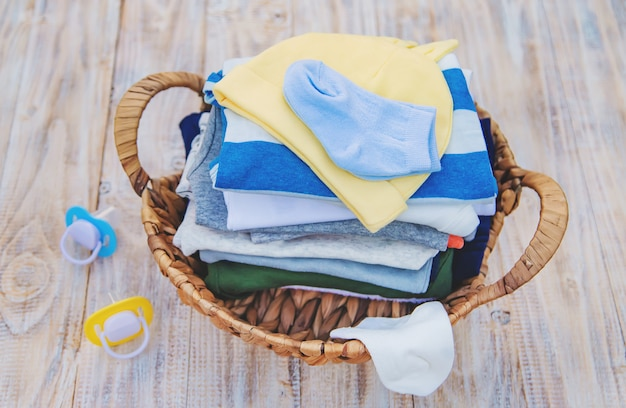 Washing baby clothes, linen dries in the fresh air