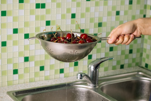 Washing cherries before eating
