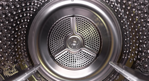 ドラムの内面の洗濯乾燥機。