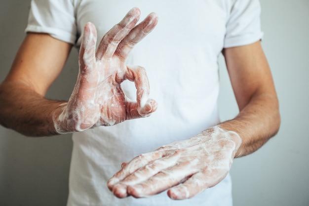 石鹸と温水で手を洗う