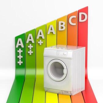 洗濯機とエネルギー効率の評価。 3dレンダリング