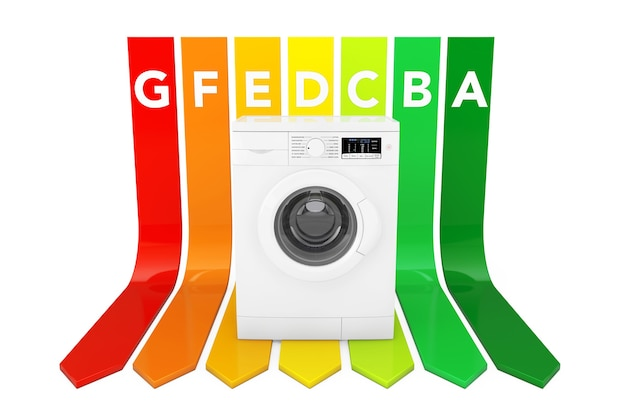 白い背景の上のエネルギー効率評価チャート上の洗濯機。 3dレンダリング。