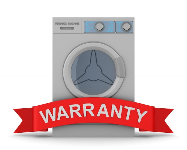 Washing machine and red ribbon with text warranty on white. isolated 3d illustration