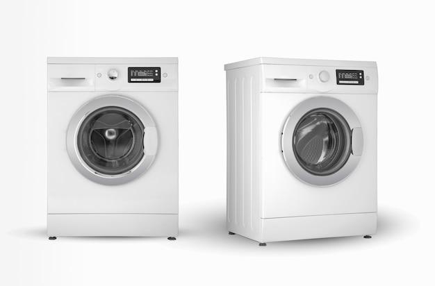 洗濯機は白い背景の2つの位置