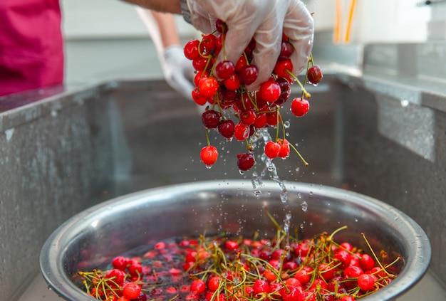 赤いチェリーを水で洗う