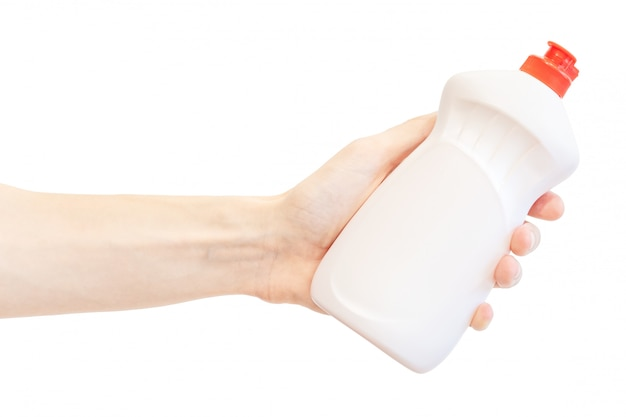 Washing up liquid plastic bottle in men's hand isolated on white