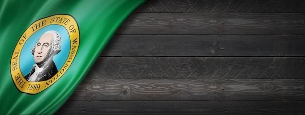 검은 나무 벽, 미국에 워싱턴 플래그입니다. 3d 렌더링