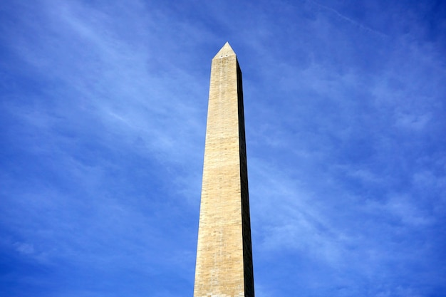 Washington monument on sunny day with blue sky background. washington dc, usa.