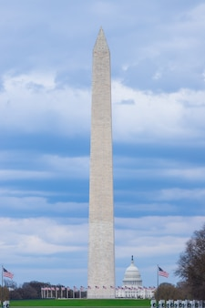 Washington monument with the united states capitol on a cloudy blue sky day washington dc usa