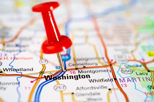 Washington, road map with red pushpin, city in the united states of america usa.