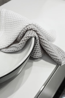 Washstand in luxury apartment bathroom and cotton towels stylish interior