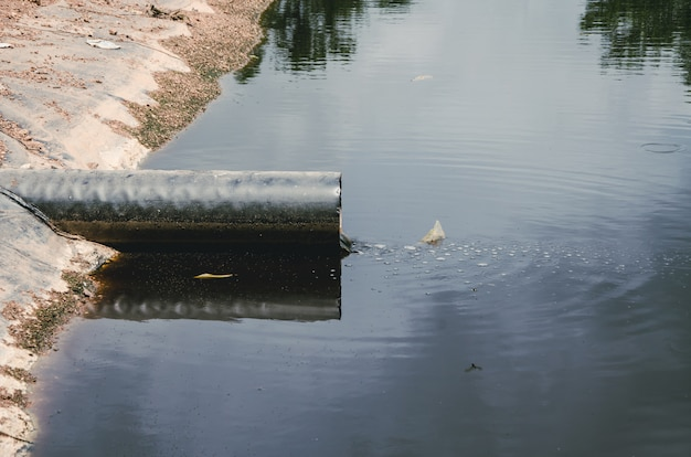 Wastewater pipe in landfill site in thailand