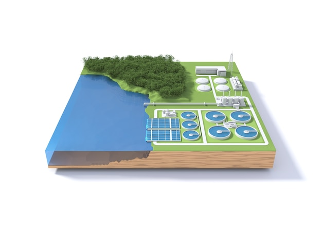 Wastewater treatment plant concept.