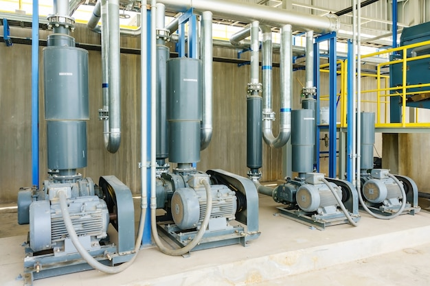 Wastewater treatment plant. a new pumping station. valves and pipes.